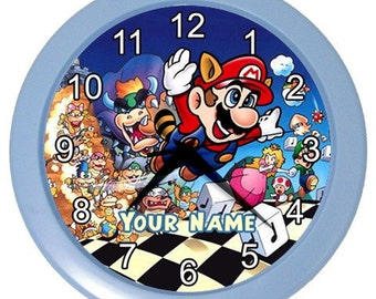 Personalized Your Name Super Mario Bros Room Wall Clock