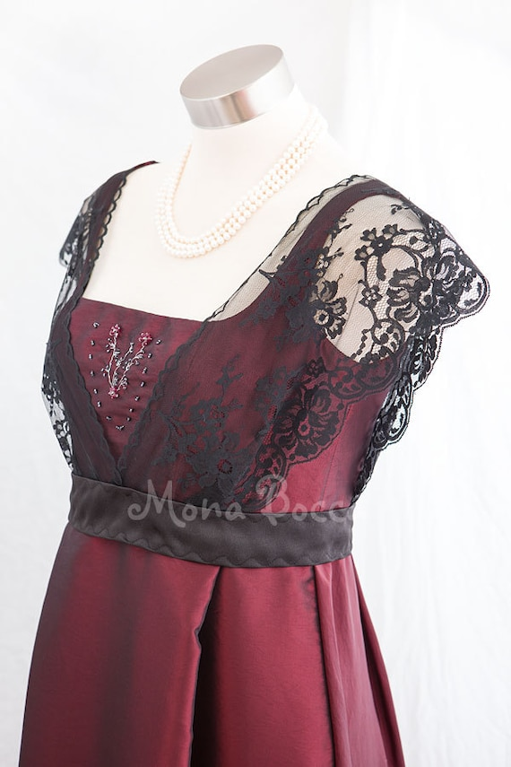 Fantastic Downton Abbey Apricot Long Sleeve Bead Pleated Chiffon Dress