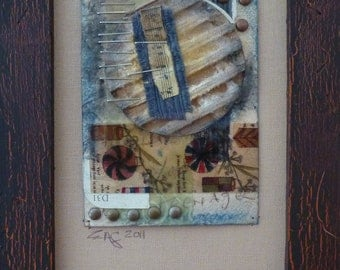 Pinwheel-Framed Mixed Media art collage on paper