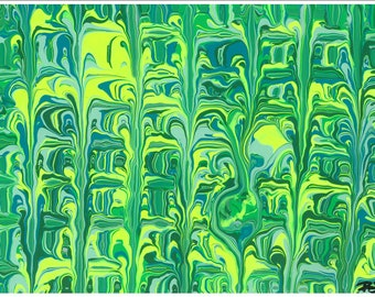 Original painting. Shades of green abstract  painting. 9 x 12. Comes with matting and protective sleeve