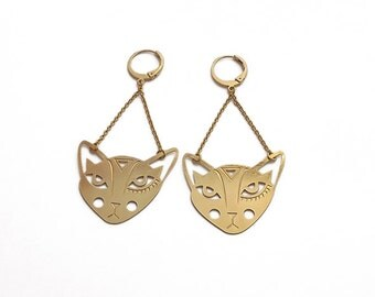 """TOTEM cat"" earrings gold"