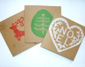 Pack of 6 Christmas Cards LIno Cut Hand Printed