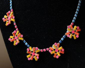 Wonderful hand paint Neon Rhinestone Necklace-with flower motif