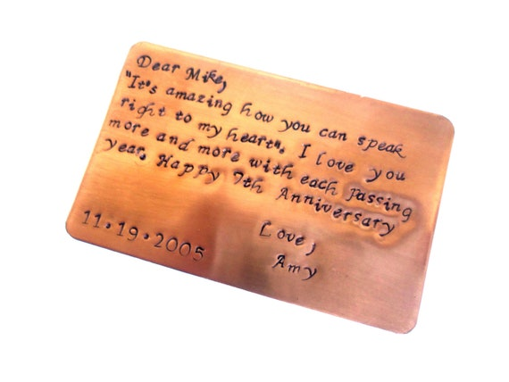 7 Year Wedding Anniversary Gift Ideas For Him: Copper Wallet Insert 7th Year Anniversary Keepsake Card For