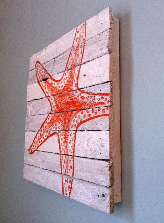 Hurricane Sandy Relief - Orange painted starfish 12x12 - reclaimed wood from Sandy homes