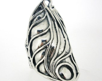 NEW Handcrafted 925 Sterling Silver Ring Design by PORAN. All Silver. Made in Israel.