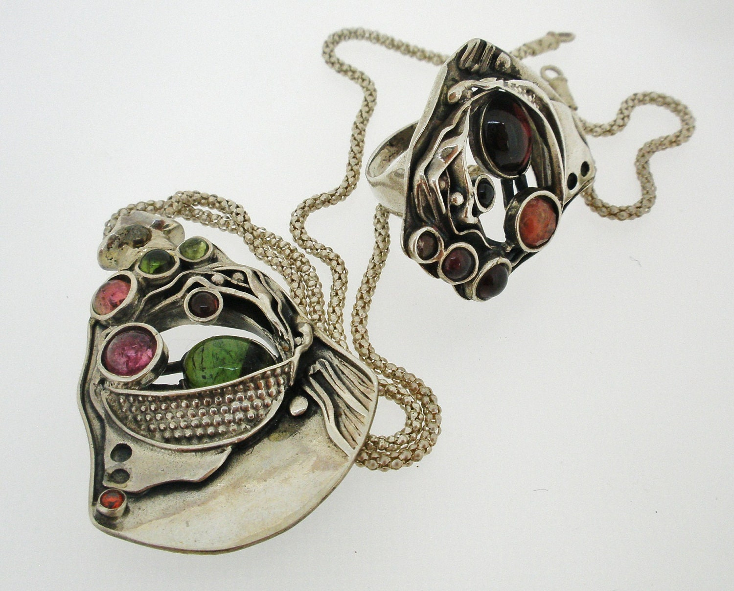 Handcrafted Sterling Silver Necklace and Semi Precious Tourmaline Stone Design by Poran. Made In Israel