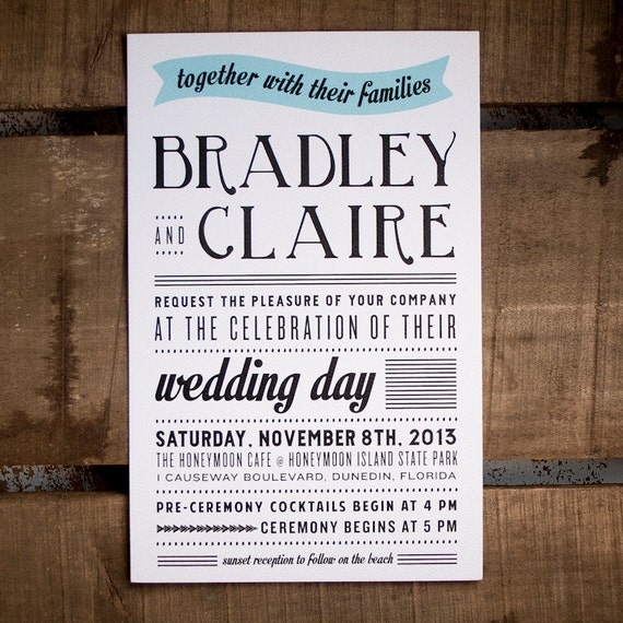Wedding Invitation, Typography Wedding Invitation, Rustic Wedding Invitation, wedding invites, Typography, fonts, eco friendly - The Bradley
