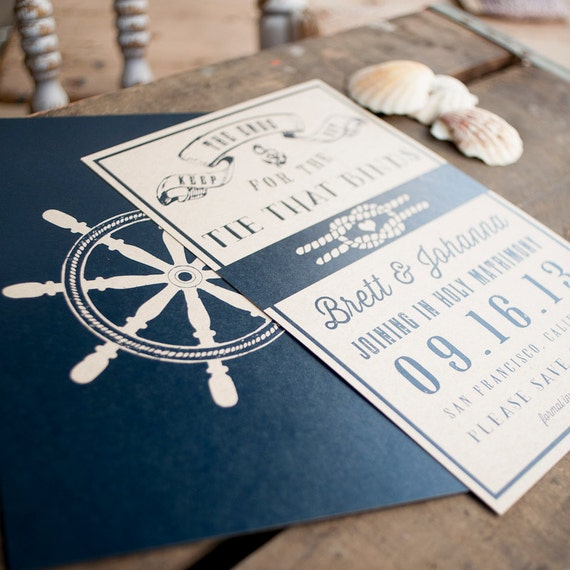 Nautical Save the Date, Save the Date card - The Ship Wheel - rustic Save the Date, wedding stationery, nautical, navy, eco friendly, kraft
