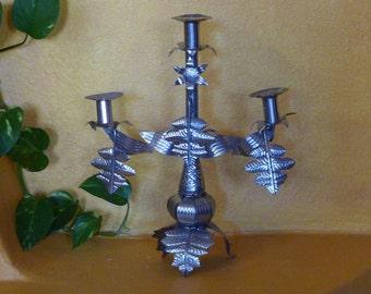 """Tin Candelabra Ecuador handmade 14"""" x 12"""" - Romantic Baroque style"""
