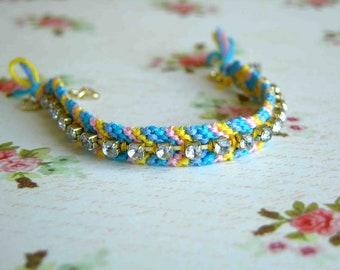 Rainbow Chevron Rhinestone Friendship Bracelet