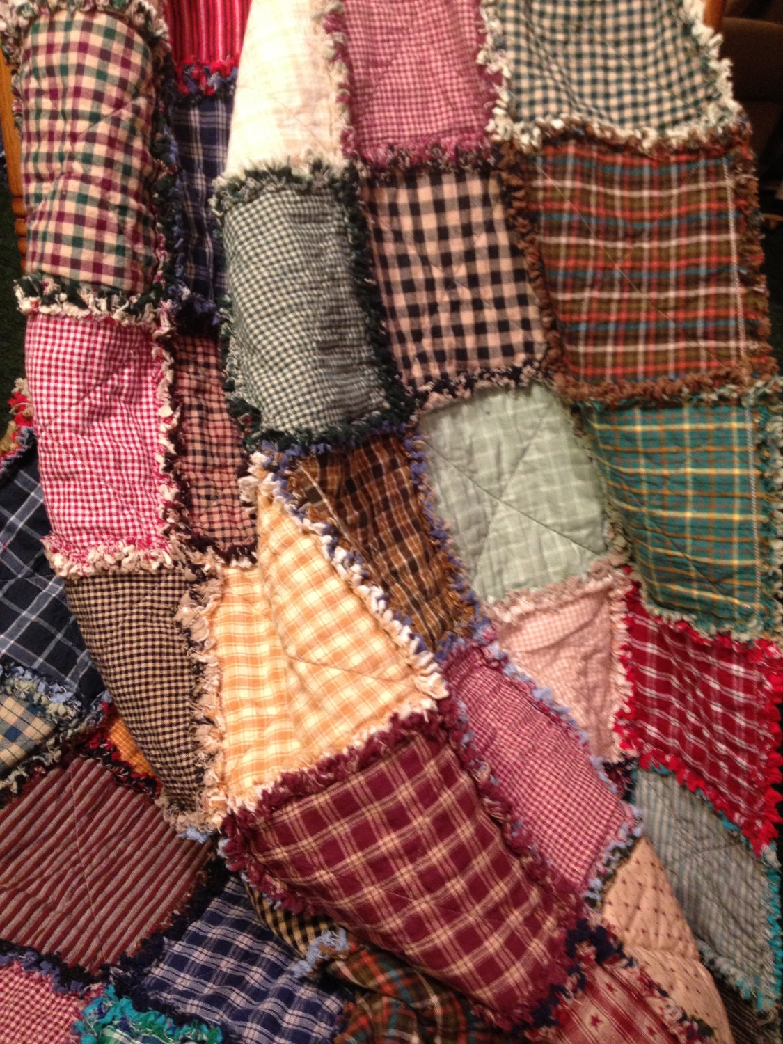 Homespun And Cotton Rag Quilt Extra Long Throw Size Flannel