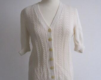 White Vintage Granny Cardigan