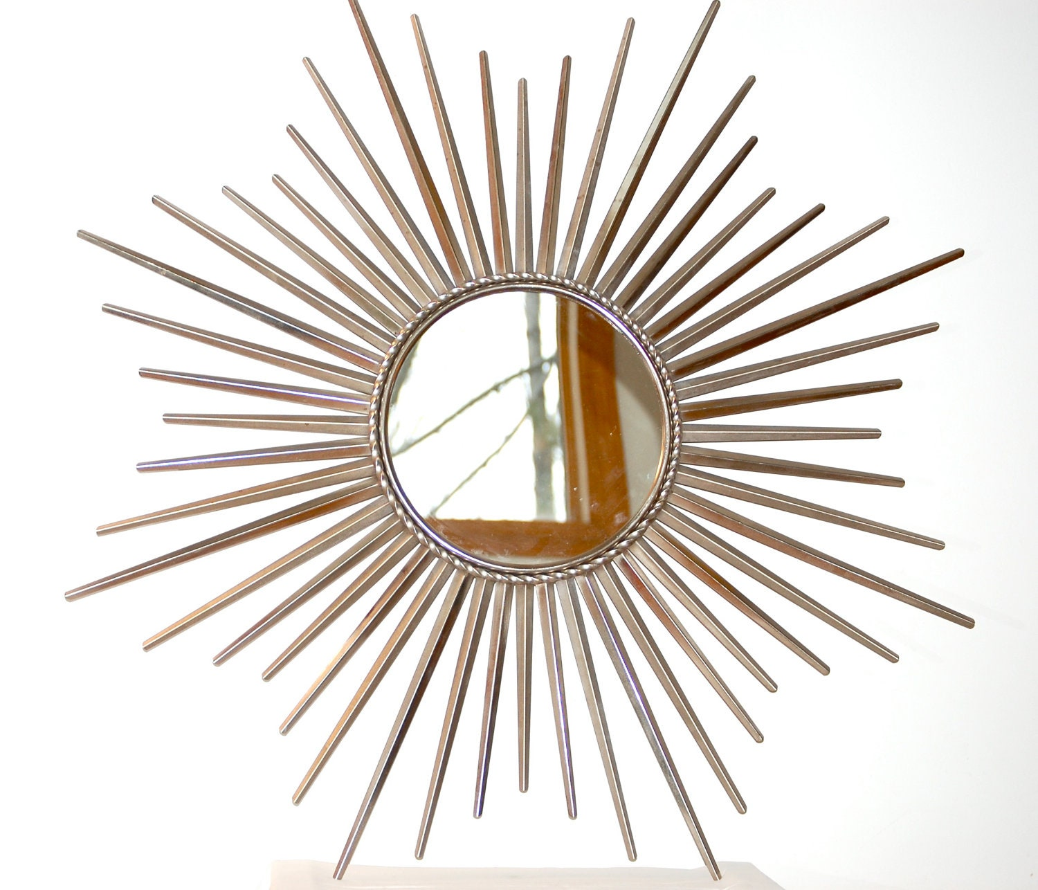 Starburst Wall Decor Mirror: Large Vintage Starburst Mirror Wall Hanging Silver Metal