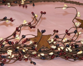 Berry Garland   Country Mix Pip Berry Garland   Pip Berry Star Garland   Garland   40-42  Inches   FREE SHIPPING USA   Ready-to-Ship