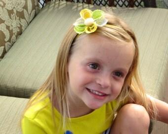 Yellow Flower Headband...Flower Hair Clip...Yellow, Gray, Lime Green