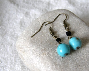 Turquoise Magnesite Dangle Earrings, Friend Gift, Mom Gift, Sister Gift, Simple, Everyday Jewelry
