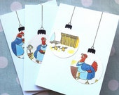 Bauble Christmas cards - vintage children's books - Little Red Hen set of three