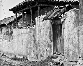 Small house on back street in Patzcuaro in Mexico-a black and white photograph