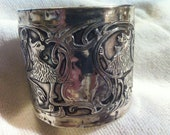 WOW HERALDIC LION sterling silver wide cuff bracelet made from an antique of vintage brush back