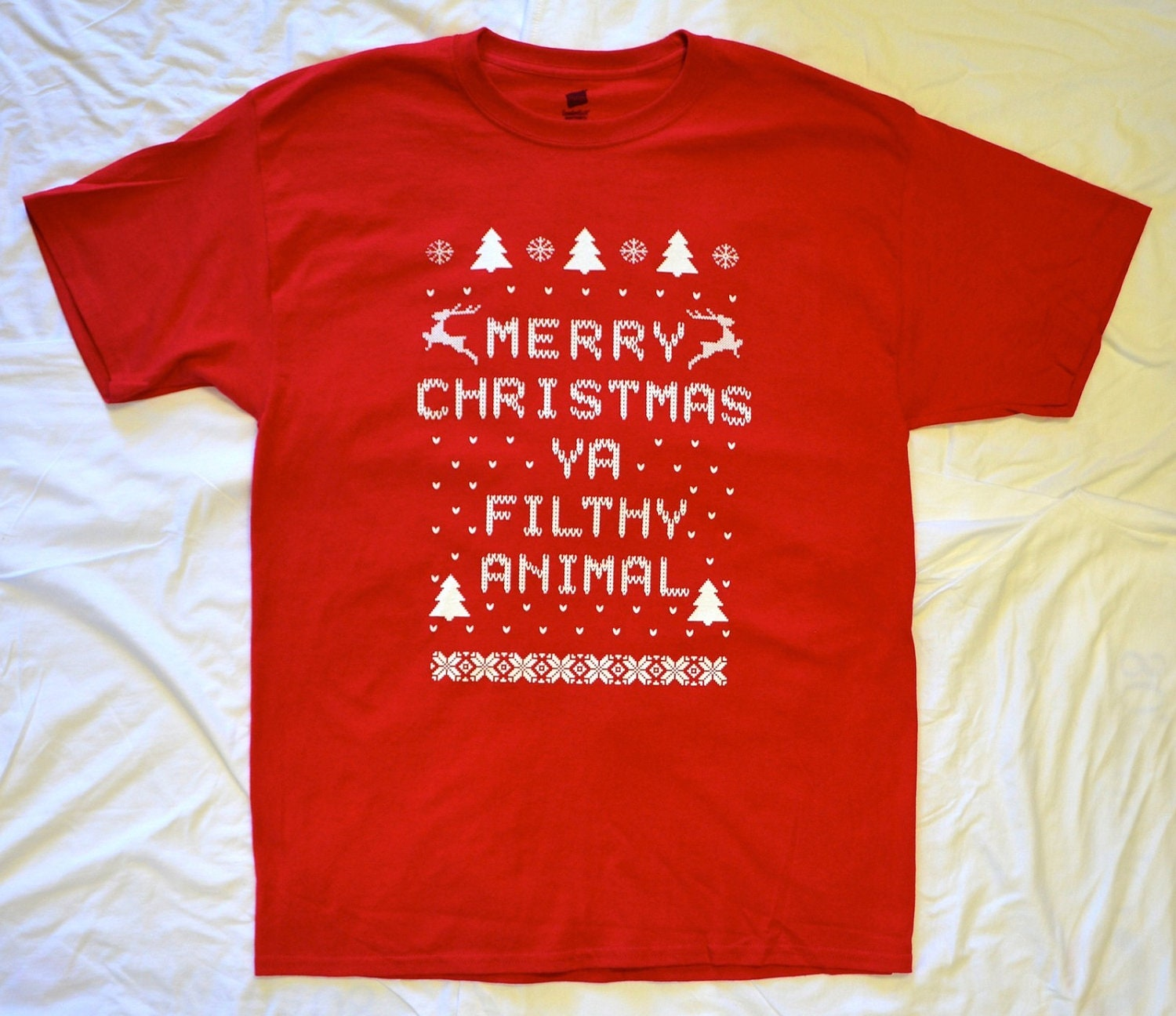 Mens T Shirt Merry Christmas Ya Filthy Animal Red By