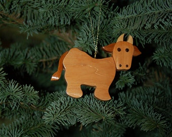 COW CHRISTMAS ORNAMENT Intarsia Wood Carving.  A unique charming collectible.