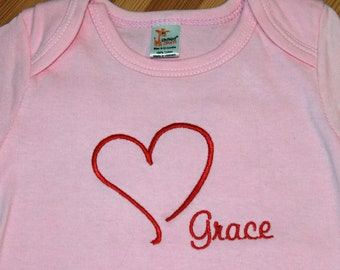 Personalized Embroidered Baby Onepiece Bodysuit - Heart with Name on Bottom