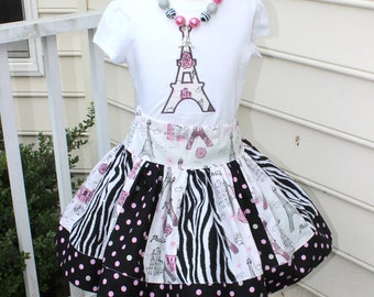 Eiffel Tower Birthday outfit. Paris birthday outfit. Girls Eiffel Tower skirt set in pink silver black and zebra. Size 2t 3t 4t 5t 6 8 10 12