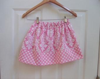 girls skirt pink damask fall skirt Michael Miller damask skirt pink and white skirt twirly skirt girls clothing fall clothing toddler skirt
