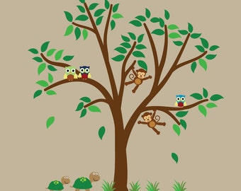 Childrens Tree Decal REUSABLE with Monkeys Owls Turtles - F300