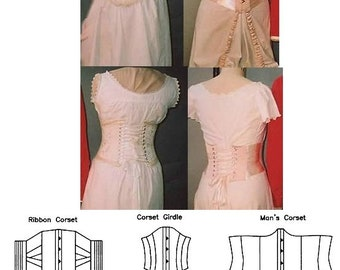 LM113 - 1894-1909 Victorian, Steampunk and Edwardian Ribbon Corset, Corset Girdle and Man's Corset Sewing Pattern by Laughing Moon