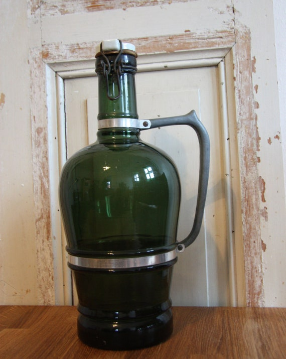 German Green Glass Beer Jug (growler)