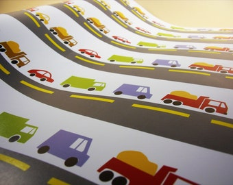 4 Trucks & Cars Wrapping Papers with Tag