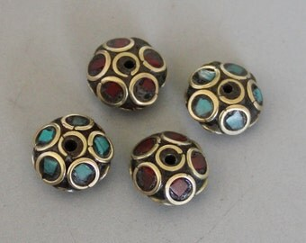 2pcs Nepal Tibetan Brass Bead With Turquoise Coral Inlay 12mm x 17mm - A269