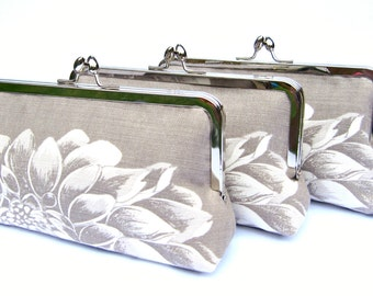 Bridesmaid clutch set of 3, bridesmaid gift, floral gray bridesmaid clutch bag, custom clutch bag set, personalised gifts, wedding accessory
