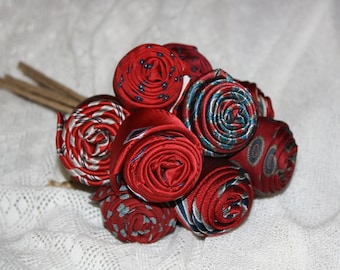 Upcycled Red Rosebud Necktie Bouquet