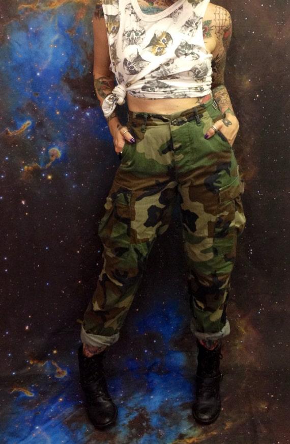 High Waist Authentic Camo Military Pants Xs