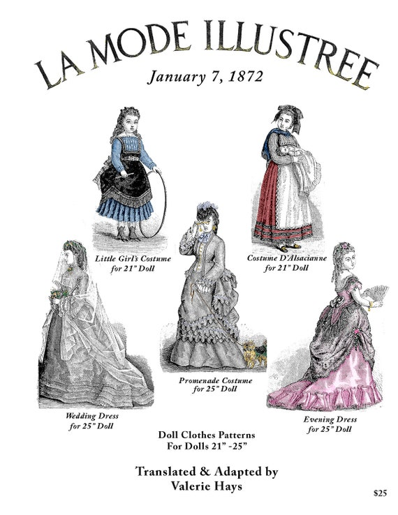 1872 La Mode Illustree Pattern Book For 21 25 Antique French Fashion Dolls With Ball Gown