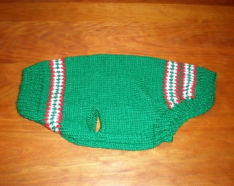 Green Crewneck Dog Sweater (M) with Red and White Accents