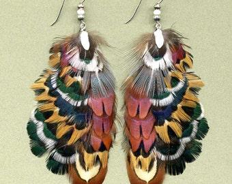 CUSTOM Iridescent Pheasant Feather Earrings - Beautifully Exotic!