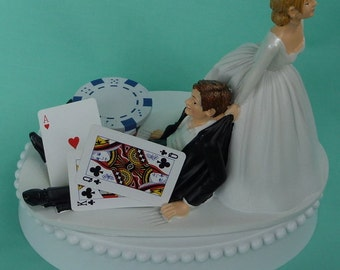 Wedding Cake Topper Poker Chips Blackjack Card Playing Player Groom Themed w/ Bridal Garter Bride Drags Pulls Humorous Cards Funny Fan Top