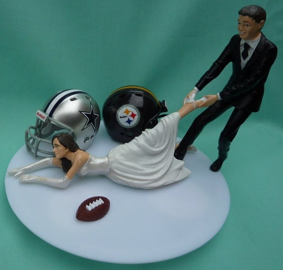 Wedding Cake Topper House Divided Football Team Rivalry By WedSet