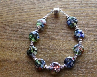 Multi colored Millefiori glass bracelet.