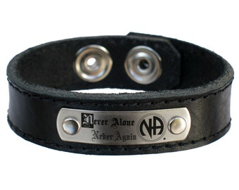 Narcotics Anonymous NA Never Alone Never Again Leather Wristband Bracelet