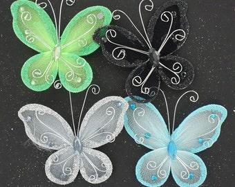3 inch nylon organza wired decorative butterflies 12 pieces