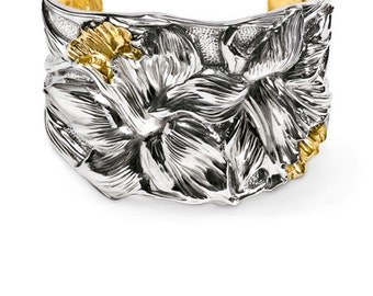 Sterling Silver cuff bracelet with iris flowers made in NYC
