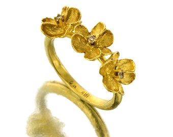 Flowers Ring - Gold Ring - 18K Gold Ring - Diamonds Ring  - Seeds Collection - Free Shipping!!!