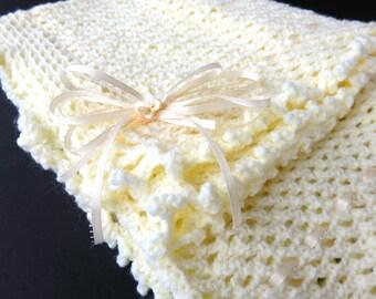 Yellow Hand Knit Crochet Afghan Baby Blanket