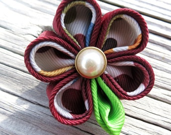 Retractable I.D. Badge Holder in Kanzashi Ribbon Flower