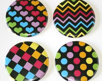 80s Pop Retro Patterns - Set of 4 Large Fridge Magnets
